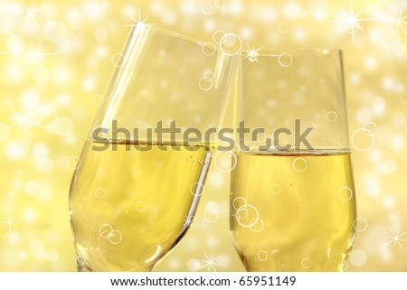 CHampagne glasses with bubble theme