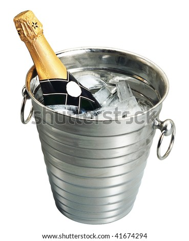 Champagne in a Bucket - isolated on white