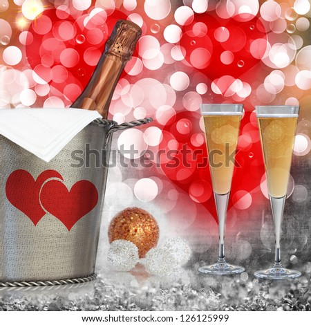 Champagne In Vintage Silver Bucket With Hammered Texture, Bronze Ornaments, & Glasses Of Champagne Wine Over Elegant Grunge Silver, Gold, Pink,  Red Valentines Heart Light Bokeh & Crystal Background