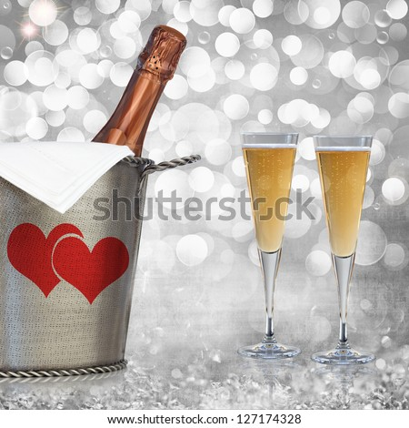 Champagne In Vintage Silver Bucket With Hammered Texture & Glasses Of Champagne Wine Over Elegant Grunge Silver, Pink, Red Valentines Heart Light Bokeh & Crystal Background