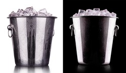 champagne Metal ice bucket on a black