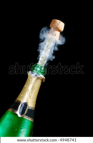 Champagne; objects on black background - stock photo