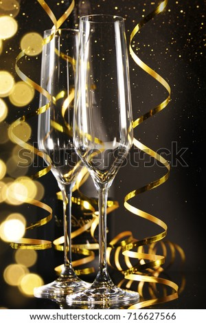 Champagne on the black background #716627566