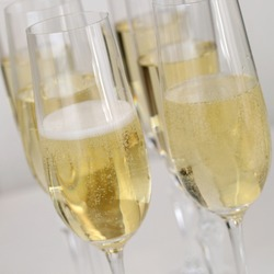 Champagne reception with Champagne in glasses on a table