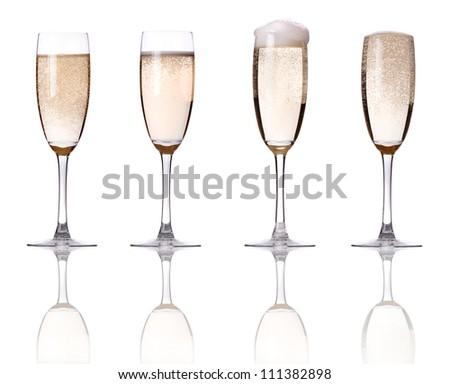 champagne set isolated on a white background