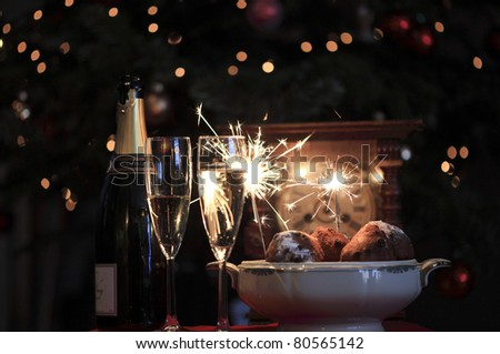 champagne, sparkles and oliebollen #80565142