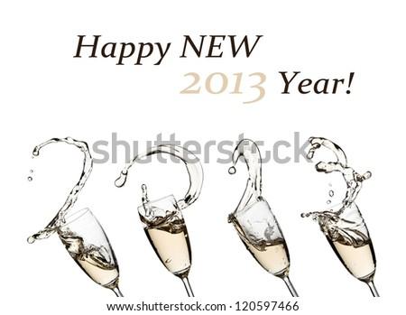 Champagne splash Happy New 2013 Year