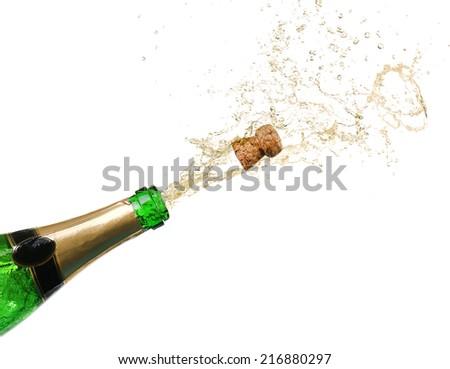 Champagne splashes isolated on white