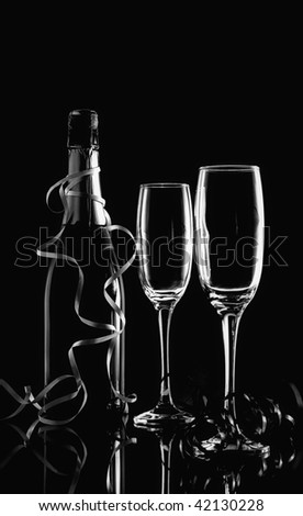 Champagne , wine glass black background