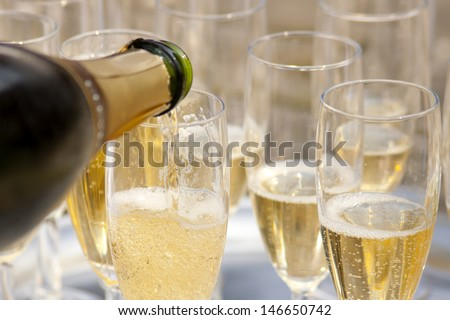 Champaign. Champaign being pored into glasses.