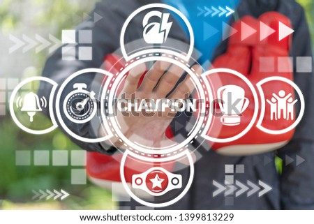 Champion Boxing Sport concept. Box fighter uses on a virtual screen of the future and sees the word: champion.
