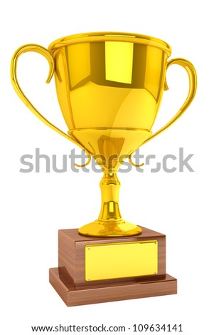 Champion gold cup trophy on a white background