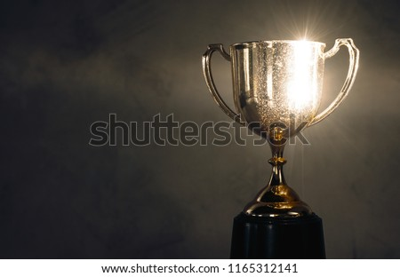 champion golden trophy placed on wooden table #1165312141