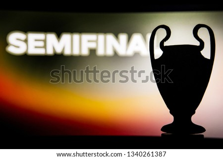"Champions league trophy silhouette and tittle ""SEMIFINAL""  #1340261387"