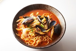 Champon noodle, Korean spicy soup and seafood noodle
