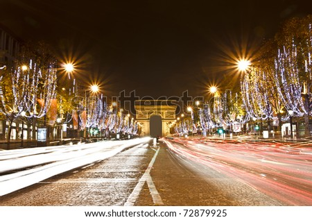 Champs Elysees light on for Christmas day