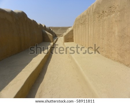 Chan Chan, Peru, was the imperial capital of the Chimor . It is largest adobe city in the world. A few miles from the modern city of Trujillo, Peru, was added as a Unesco World Heritage Site in 1986.