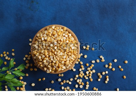 Chana Dall or Split Yellow Lentils on blue background Photo stock ©