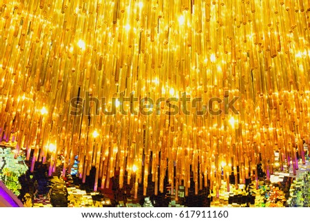 Chandelier and colorful of ceiling tiles. #617911160