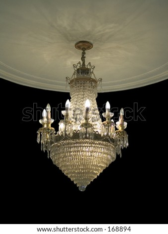 Chandelier and ornate ceiling