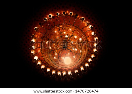 Chandelier. Elegant chandelier. Mandala chandelier Luxury chandelier in Black Background
