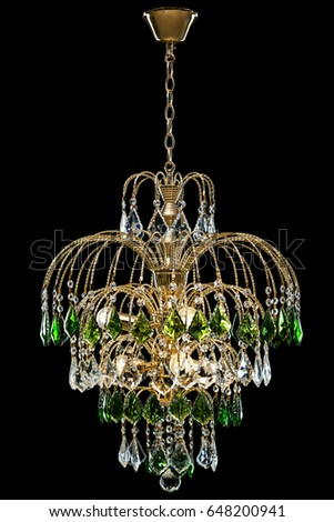 Free photos green crystal chandelier interior avopix chandelier for interior of the living room chandelier decorated with green crystals isolated on black aloadofball Choice Image