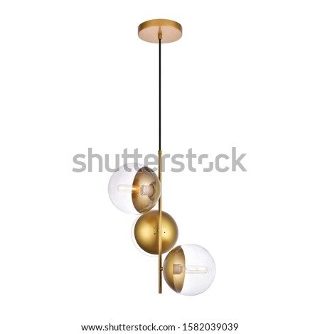 Chandelier Isolated on White Background. Ceiling 3 Light Round Pendant Light Fixture. Clear Frosted Glass and Gold Metal Wall Mount 3-Light Hanging Lights. Pendant Sconce Lighting Lamp