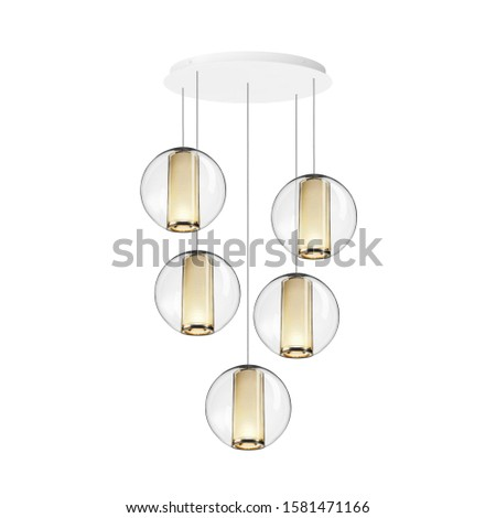 Chandelier Isolated on White Background. Ceiling Light Round Pendant Light Fixture. Hanging Lights with Delicate Glass Orbs . Modern 5-Light LED Chandelier. Pendant Sconce Lighting Lamp