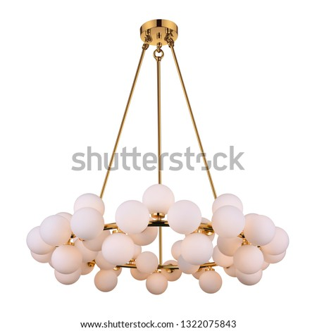 Chandelier Isolated on White Background. Ceiling Light Round Pendant Light Fixture. Pink Frosted Glass and Gold Metal Hanging Lights. Pendant Sconce Lighting Lamp