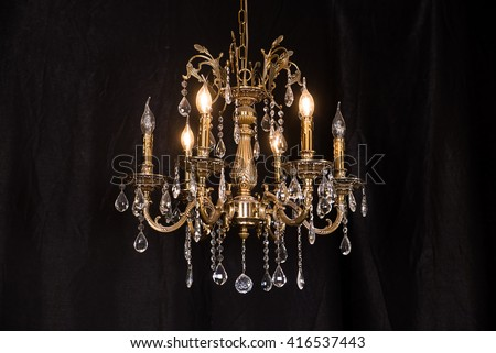 Chandelier, luxury retro style on dark background