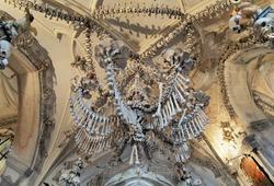 Chandelier made of bones and skulls in Sedlec ossuary (Kostnice), Kutna Hora, Czech Republic