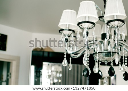 chandelier on the ceiling, black and white chandelier, luxurious chandelier