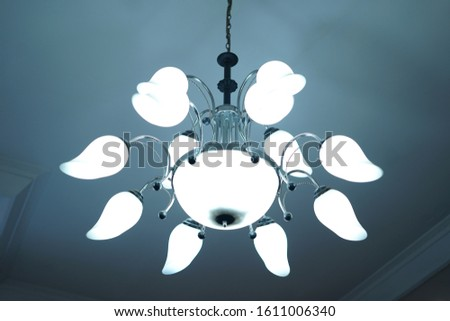 Chandelier on the ceiling .Chandelier in the minimalis design.