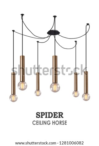 Chandelier Spider. Ceiling lamp metal pipe. A lot of lamps. Lots of light. Bronze #1281006082