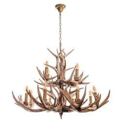 Chandelier with horns brown. Decorative chandelier with deer and elk horns