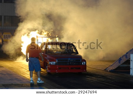 CHANDLER, AZ - APRIL 25: A jet powered truck ignites its engine at the Firebird International Raceway on April 25, 2009 in Chandler, AZ.