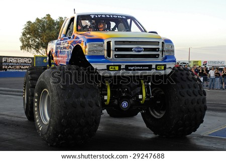 "CHANDLER, AZ - APRIL 25: The monster truck ""Bigfoot"" at the Firebird International Raceway on April 25, 2009 in Chandler, AZ."