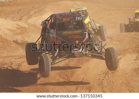 CHANDLER, AZ - OCT 26: Mike Porter (8) at speed in Pro Buggy Lucas Oil Off Road Series racing during a qualifying session on October 26, 2012 at Firebird International Raceway in Chandler, AZ.