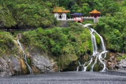 Changchun temple, Eternal Spring Shrine and waterfall at Taroko National Park in Hualien, Taiwan