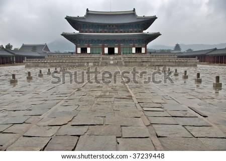 Changdeokgung Palace in rain weather, Seoul, Korea