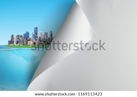 Change concept, Turning blank paper page to city is friendly to the environment, changing reality, hope inspiration,environmental protection, change weather, environmental campaign.