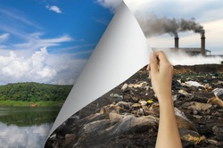 Change concept, Woman hand turning pollution page revealing nature landscape, changing reality, hope inspiration to environmental protection and environmental campaign.