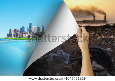 Change concept, Woman hand turning pollution page revealing to city friendly environment, changing reality, hope inspiration to environmental protection and campaign.