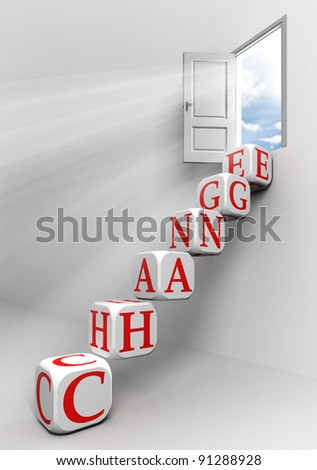 change conceptual door with sky and box word  ladder in white room metaphor