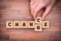Change is your chance motivational concept. Mentor motivate to change and to take opportunity in post covid-19 era after pandemic. Flat lay top down view design.