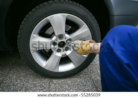 change of tyres - stock photo