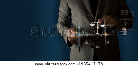 Change your future to advice Businessman inscription Legal advice online, labor law concept Foto stock ©
