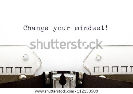 Change Your Mindset printed on an old typewriter - stock photo