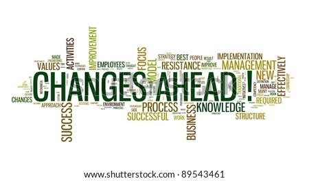Changes ahead concept in word cloud on white background