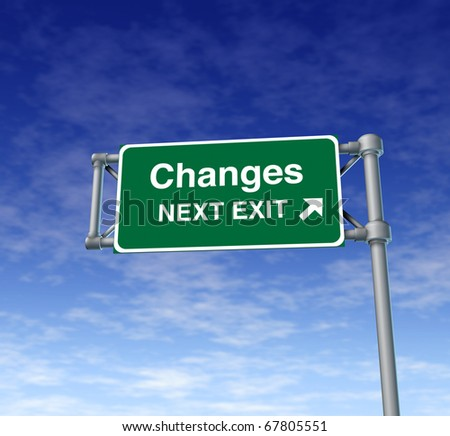 changes Freeway Exit Sign highway street symbol green signage road symbol